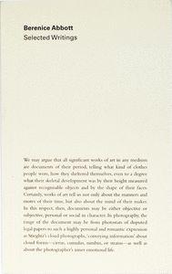 BERENICE ABBOTT: SELECTED WRITINGS
