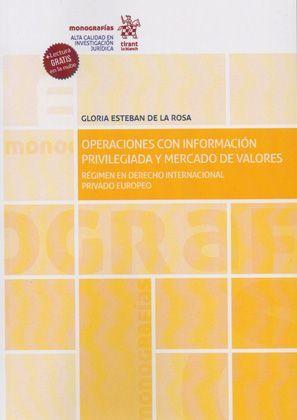 OPERACIONES CON INFORMACION PRIVILEGIADA Y MERCADO DE VALORES