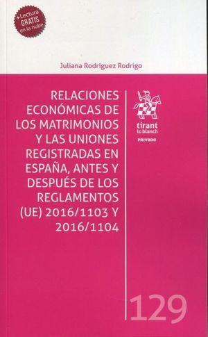RELACIONES ECONOMICAS MATRIMONIOS Y UNIONES REGISTRADAS EN E