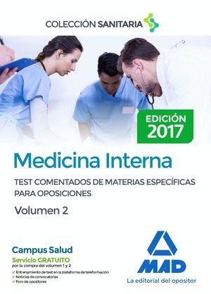 MEDICINA INTERNA. TEST COMENTADOS DE MATERIAS ESPECÍFICAS PARA OPOSICIONES. VOLU