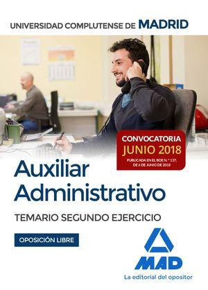 AUXILIAR ADMINISTRATIVO DE LA UNIVERSIDAD COMPLUTENSE DE MADRID. TEMARIO SEGUNDO EJERCICIO