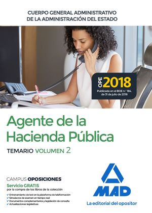 AGENTE DE LA HACIENDA PÚBLICA TEMARIO VOL.2 CUERPO GENERAL ADMINISTRATIVO DE LA ADMINISTRACIÓN DEL ESTADO