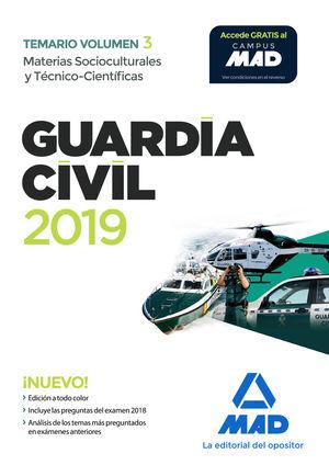 GUARDIA CIVIL. TEMARIO VOL.3  MATERIAS SOCIOCULTURALES Y TÉCNICO-CIENTÍFICAS