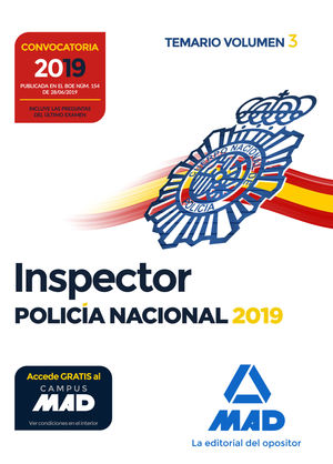 INSPECTOR POLICÍA NACIONAL. TEMARIO VOLUMEN 3