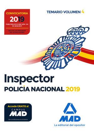 INSPECTOR DE POLICÍA NACIONAL. TEMARIO VOLUMEN 4 2019