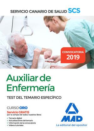 AUXILIAR DE ENFERMERÍA DEL SERVICIO CANARIO DE SALUD. TEST DEL TEMARIO ESPECIFICO