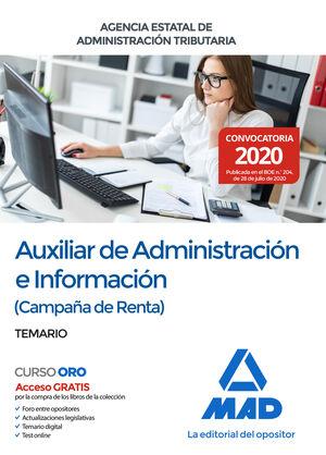 AUXILIAR DE ADMINISTRACIÓN E INFORMACIÓN (CAMPAÑA DE RENTA) DE LA AGENCIA ESTATAL