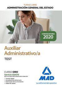 AUXILIAR ADMINISTRATIVO/A TEST. ADMINISTRACION GENERAL DEL ESTADO. TURNO LIBRE