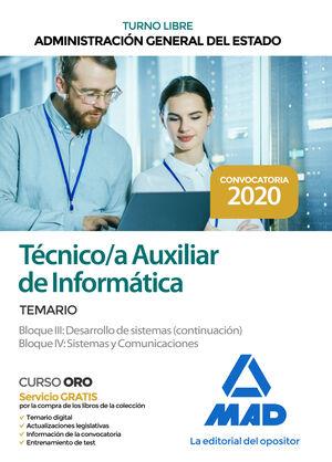 TÉCNICO/A AUXILIAR DE INFORMÁTICA. TEMARIO BLOQUES III (CONT.) Y IV ADMINISTRACIÓN GENERAL DEL ESTADO (TURNO LIBRE)