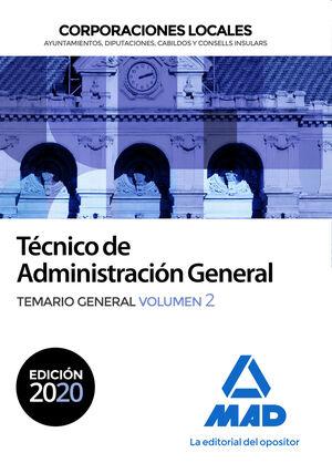 TÉCNICO ADMINISTRACIÓN GENERAL CORPORACIONES LOCALES. TEMARIO GENERAL VOL 2