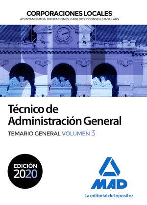 TÉCNICO ADMINISTRACIÓN GENERAL CORPORACIONES LOCALES. TEMARIO GENERAL VOL 3