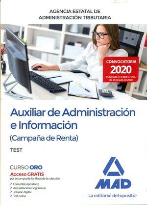 AUXILIAR DE ADMINISTRACIÓN E INFORMACIÓN (CAMPAÑA DE RENTA) TEST