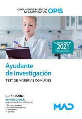 AYUDANTE DE INVESTIGACIÓN. TEST DE MATERIAS COMUNES