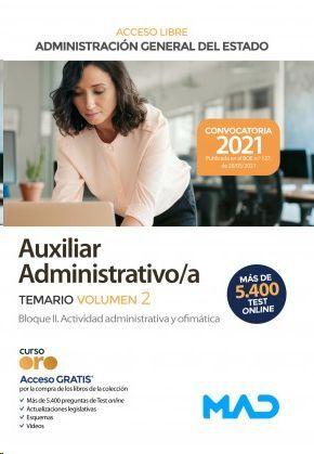 AUXILIAR ADMINISTRATIVO ESTADO TEMARIO VOLUMEN 2 TURNO LIBRE 2021