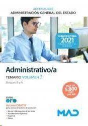 ADMINISTRATIVO/A TEMARIO VOLUMEN 3 ADMINISTRACION GENERAL DEL ESTADO ACCESO LIBRE 2021