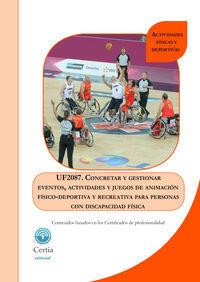 UF2087 CONCRETAR Y GESTIONAR EVENTOS, ACTIVIDADES Y JUEGOS D