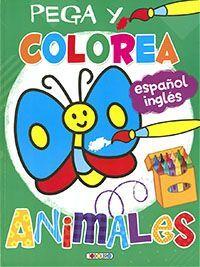 PEGA Y COLOREA. ANIMALES (VERDE)