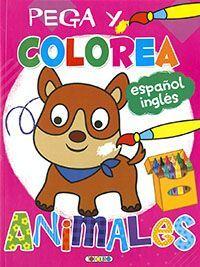 PEGA Y COLOREA. ANIMALES (ROSA)