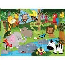 LOS ANIMALES DE LA SELVA. LIBRO Y PUZLE GIGANTE  30 PIEZAS (CAJA)