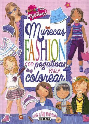 MUÑECAS FASHION CON PEGATINAS PARA COLOREAR ( ROSA )