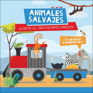 ANIMALES SALVAJES. LIBRO + TREN-ROMPECABEZAS